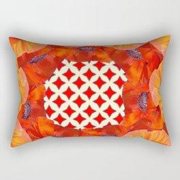 MODERN RED-ORANGE POPPY FLOWERS GARDEN VIGNETTE  WHITE DESIGN Rectangular Pillow