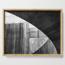 Stone Circle Meets Square Concrete Abstract Serving Tray