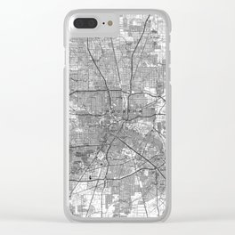 Houston Texas Map (1992) BW Clear iPhone Case