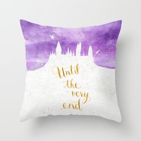 snape Throw Pillows featuring Until the very end by Earthlightened