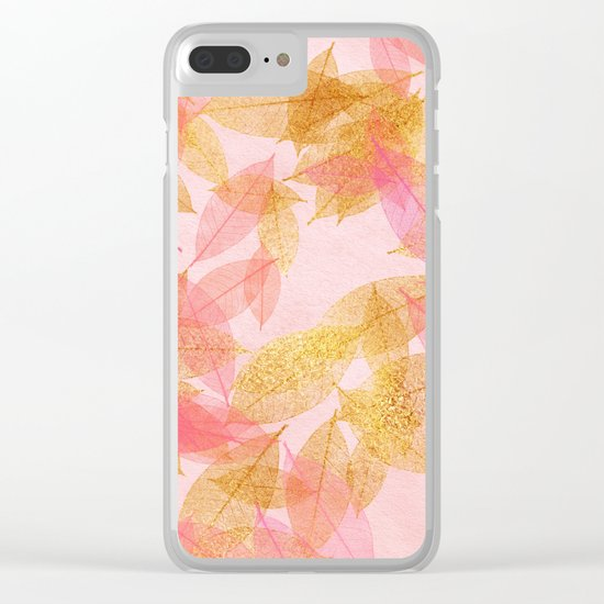 Autumn-world- gold leaves on pink Clear iPhone Case