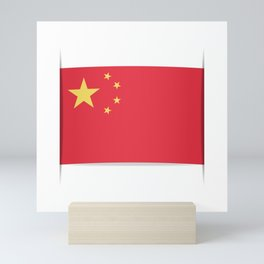 Flag of China. The slit in the paper with shadows. Mini Art Print