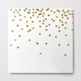 Gold Hearts Metal Print