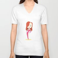 jessica lange V-neck T-shirts featuring Jessica by Rod Perich