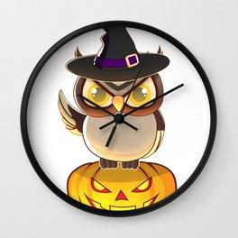 Night Owl Witch With Jack O Lantern Halloween Shirt Wall Clock
