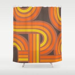 70's Orange Funky Shower Curtain