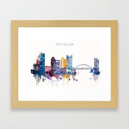 Watercolor cityscape of Pittsburgh Framed Art Print