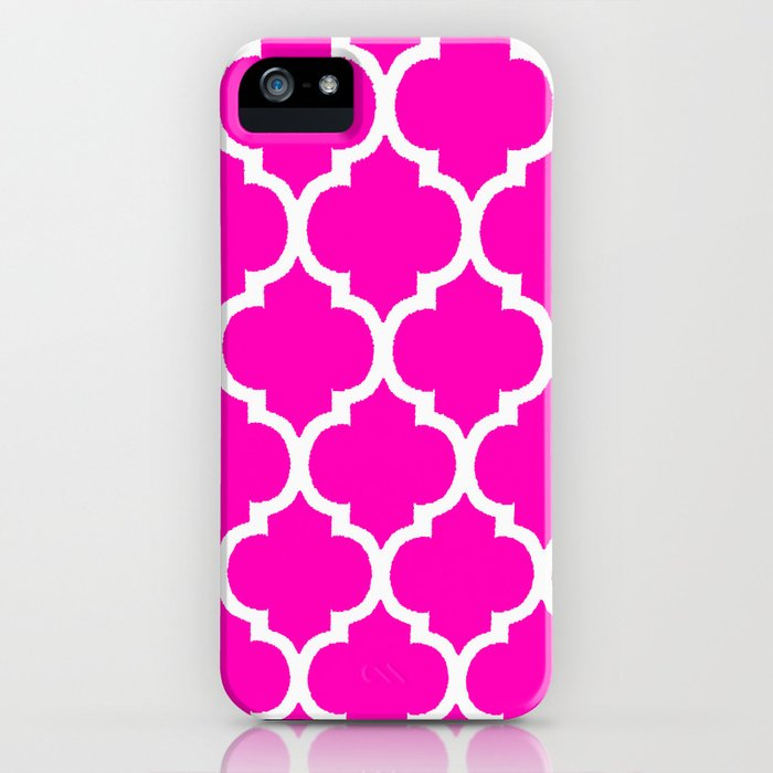 MOROCCAN PINK AND WHITE PATTERN iPhone Case