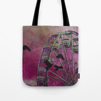 ferris wheel Tote Bags featuring Ferris-Wheel by The Strange Days Of Gothicrow
