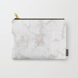 Rose Gold Marble Natural Stone Gold Metallic Veining White Quartz Carry-All Pouch