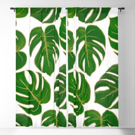 Modern hand painted green faux gold monster leaves Blackout Curtain