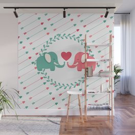 Elephant Love with Arrows Wall Mural