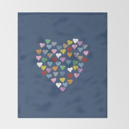 Distressed Hearts Heart Navy Throw Blanket