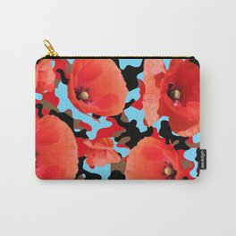 Poppie Camouflage Red Blue Carry-All Pouch