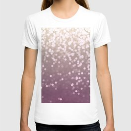 PLUM PURPLE AND GOLD CHAMPAGNE GLITTER LIGHTS T-shirt