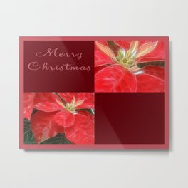 Mottled Red Poinsettia 1 Ephemeral Merry Christmas Q10F1 Metal Print