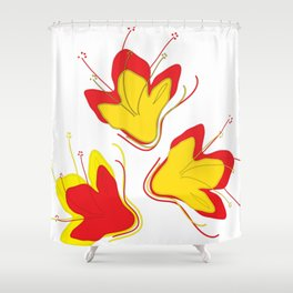 Abstract Vector Digital Art Golden Flowers Shower Curtain
