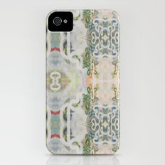 Deco Slate Blue Flower Stripes Slim Case iPhone (4, 4s)