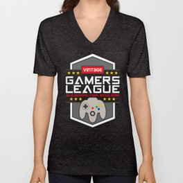 Geeky Gamer Chic Classic Vintage Gaming N64 Inspired Vintage Gamer League Old School Cool Unisex V-Neck