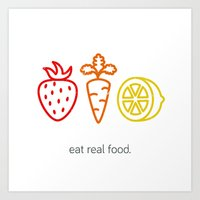 Eat Real Food. (light) Art Print