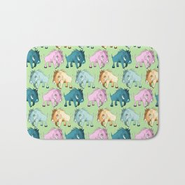 Cute Kawaii Wild Boar Green Watercolor Pattern Print Bath Mat