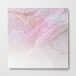 Frozen Iridescent Fantasy Marble - Pink Metal Print