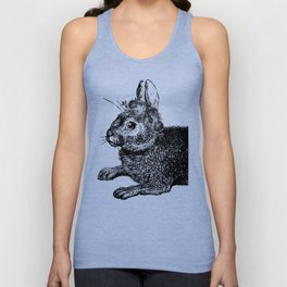 The Rabbit and Roses | Black and White Unisex Tank Top