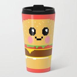 Happy Pixel Hamburger Travel Mug