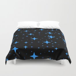 Bright Blue  Stars in Space Duvet Cover
