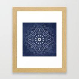 Indigo Mystique Mandala Framed Art Print