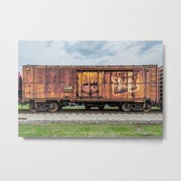 Rusting Railroad Boxcar Rusted Railway Train  Metal Print