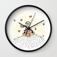 the little prince Wall Clocks featuring Little Prince by nelasnow