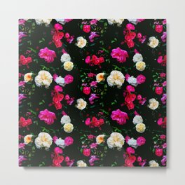 Dark Floral Rose Garden Metal Print