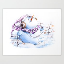 Music Snowman Art Print