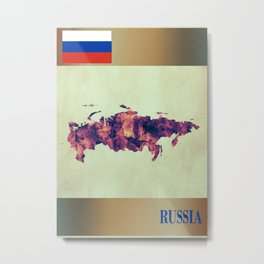 Russia Map with Flag Metal Print