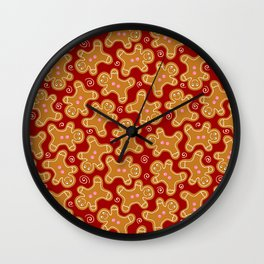 Festive Gingerbread Men Wall Clock