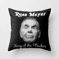 kevin russ Throw Pillows featuring Russ Meyer Tribute Poster by Holland