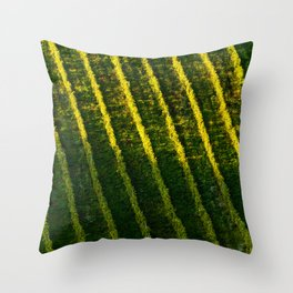 Vineyards rows pattern Throw Pillow