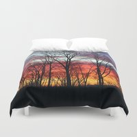 rugby Duvet Covers featuring Sunrise in Rugby by Tiffany Dawn Smith