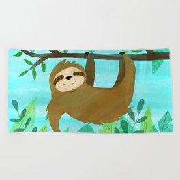 Cute Sloth Beach Towel