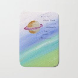 Children's View Of Saturn, With Poem: Just For Kids Bath Mat