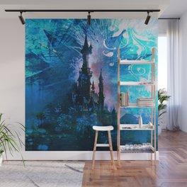 Blue Grunge Fairytale Fantasy Castle Wall Mural