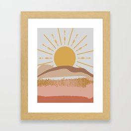 Bright Yellow Sun Framed Art Print
