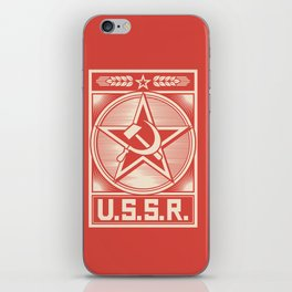 star, crossed hammer and sickle - ussr poster (socialism propaganda) iPhone Skin