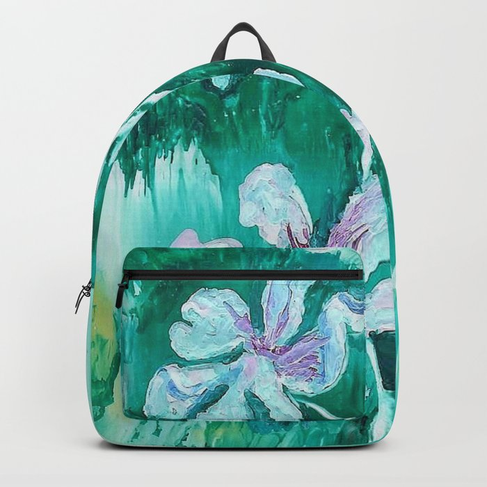 Green encaustic flowers Backpack