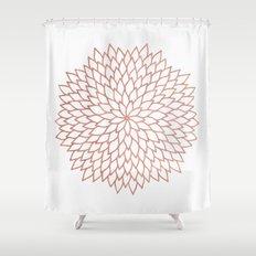 Mandala Flower Rose Gold on White Shower Curtain