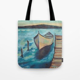 Boat to the Pier Tote Bag