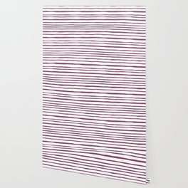 Magenta pink watercolor hand painted stripes Wallpaper