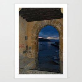 Door Framed Sunset View in Cefalu Italy Art Print