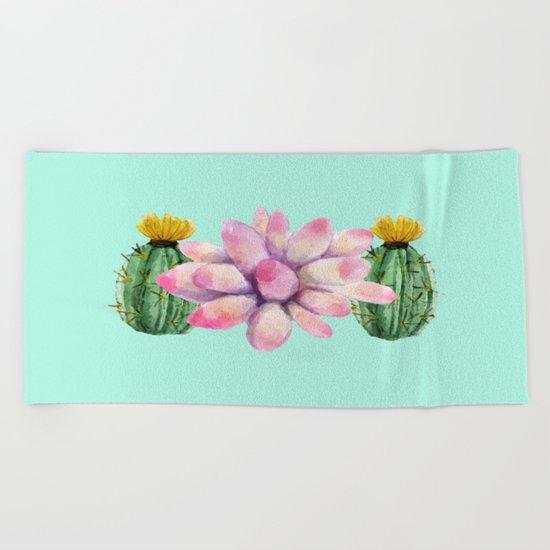 Watercolor cactus  Beach Towel